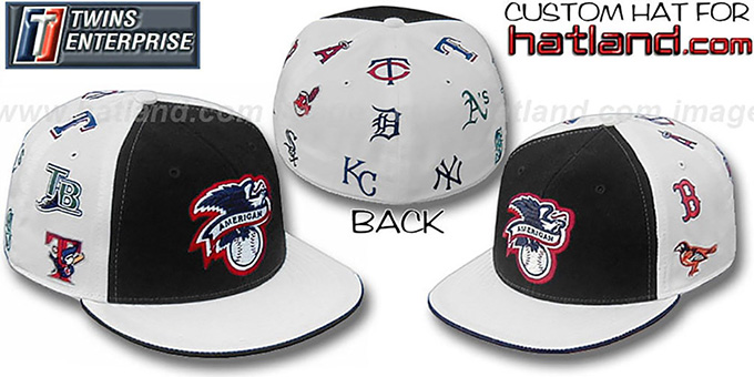 American League 'ALL-OVER' Fitted Hat by Twins - Black-White : pictured without stickers that these products are shipped with