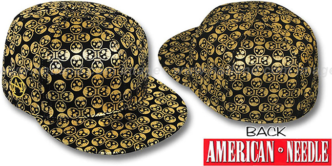 American Needle 'FOIL FOURSOME SKULLS' Black Fitted Hat : pictured without stickers that these products are shipped with