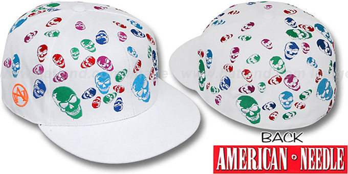 American Needle 'MULTI SKULLS' White Fitted Hat : pictured without stickers that these products are shipped with
