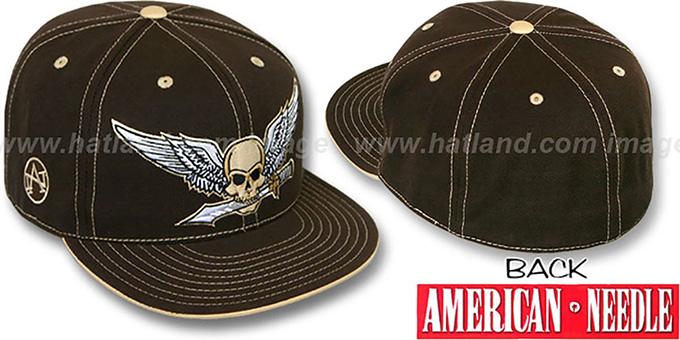 American Needle 'WINGED SKULL' Brown Fitted Hat : pictured without stickers that these products are shipped with