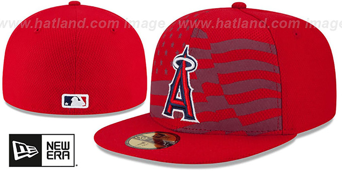 Angels '2015 JULY 4TH STARS N STRIPES' Hat by New Era : pictured without stickers that these products are shipped with
