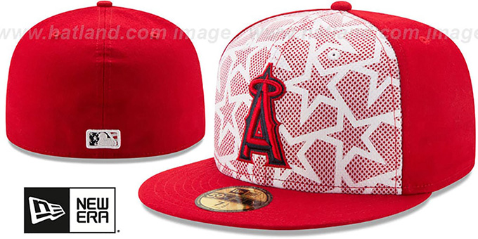 Angels '2016 JULY 4TH STARS N STRIPES' Fitted Hat by New Era : pictured without stickers that these products are shipped with
