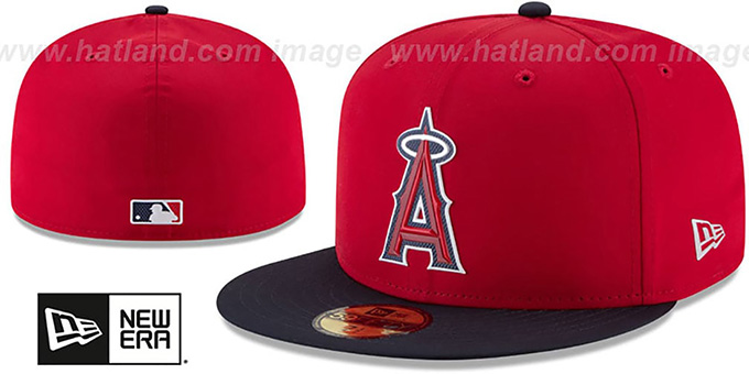 Angels '2018 PROLIGHT-BP' Red-Navy Fitted Hat by New Era : pictured without stickers that these products are shipped with
