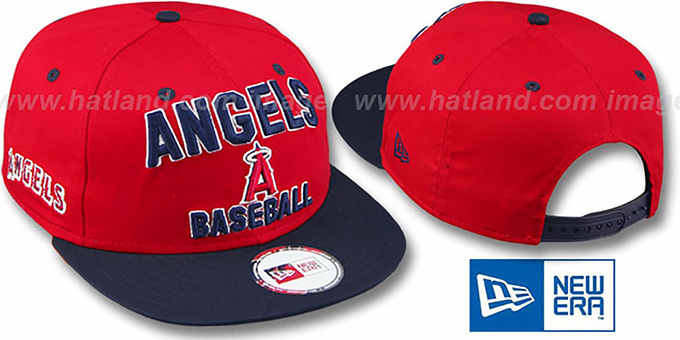 Angels '2T PAYDIRT SNAPBACK' Red-Navy Adjustable Hat by New Era : pictured without stickers that these products are shipped with
