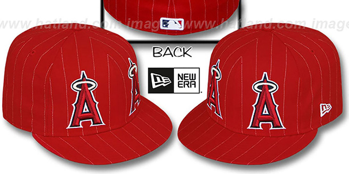 Angels 'BIG-ONE DOUBLE WHAMMY' Red-White Fitted Hat : pictured without stickers that these products are shipped with