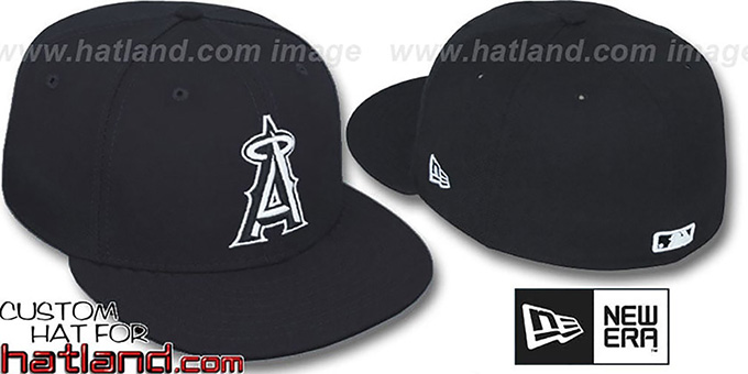 495c6a5cb15bf1 Angels  TEAM-BASIC  Black-White Fitted Hat by New Era