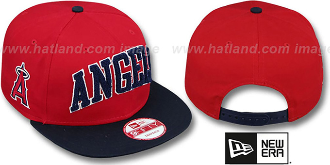 Angels 'CHENILLE-ARCH SNAPBACK' Red-Navy Hat by New Era : pictured without stickers that these products are shipped with