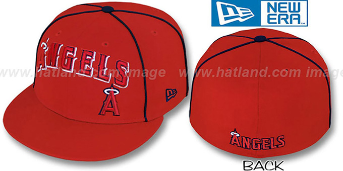 Angels 'CITY-FLAWLESS' Red Fitted Hat by New Era : pictured without stickers that these products are shipped with