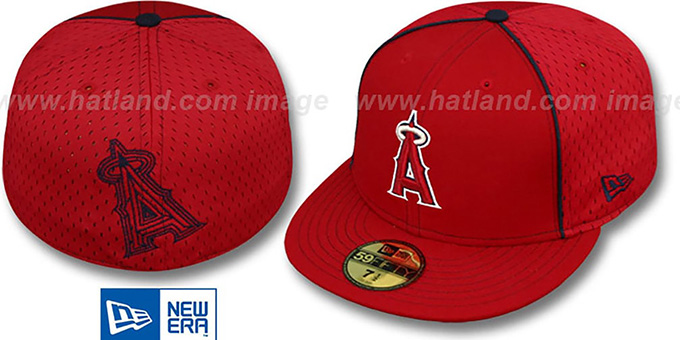 Angels 'CONTRAST BP-MESH' Red Fitted Hat by New Era : pictured without stickers that these products are shipped with