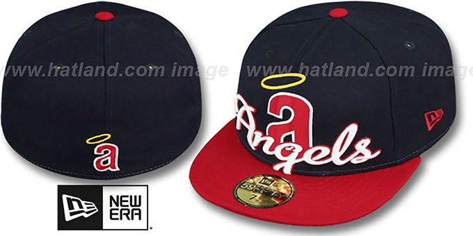 Angels COOP 'SCRIPT-PUNCH' Navy-Red Fitted Hat by New Era : pictured without stickers that these products are shipped with