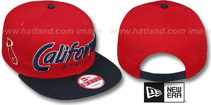 Angels COOP 'SNAP-IT-BACK SNAPBACK' Red-Navy Hat by New Era : pictured without stickers that these products are shipped with