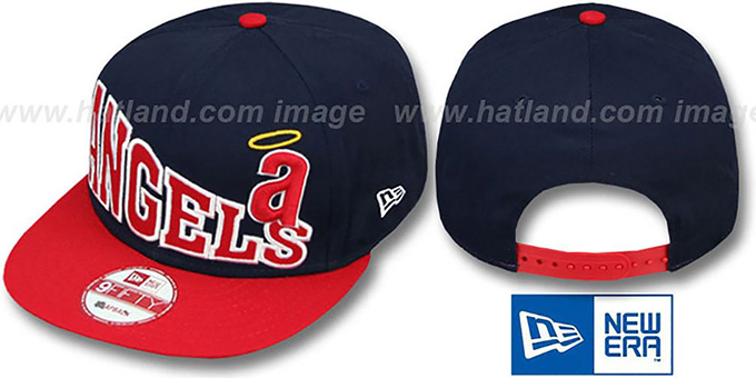 Angels COOP 'STOKED SNAPBACK' Navy-Red Hat by New Era : pictured without stickers that these products are shipped with