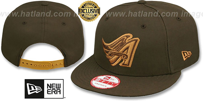Angels COOP 'TEAM-BASIC SNAPBACK' Brown-Wheat Hat by New Era : pictured without stickers that these products are shipped with