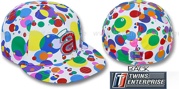 Angels 'GUMBALL' White-Multi Fitted Hat by Twins : pictured without stickers that these products are shipped with