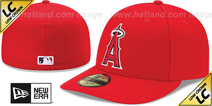 Angels 'LOW-CROWN' GAME Fitted Hat by New Era : pictured without stickers that these products are shipped with