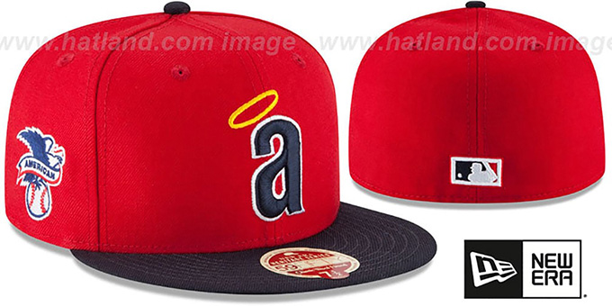 Angels 'MLB COOPERSTOWN WOOL-STANDARD' Red-Navy Fitted Hat by New Era : pictured without stickers that these products are shipped with
