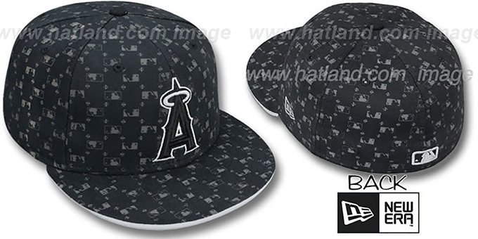 Angels 'MLB FLOCKING' Black Fitted Hat by New Era : pictured without stickers that these products are shipped with