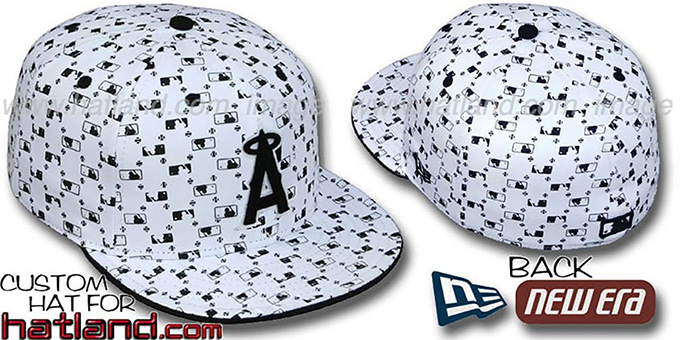 Angels 'MLB FLOCKING' White-Black Fitted Hat by New Era : pictured without stickers that these products are shipped with