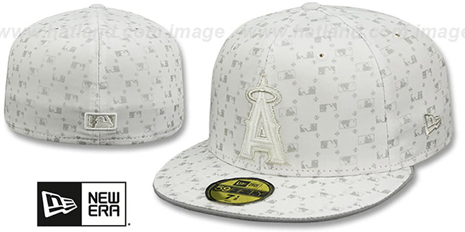 Angels 'MLB FLOCKING' White-Grey Fitted Hat by New Era