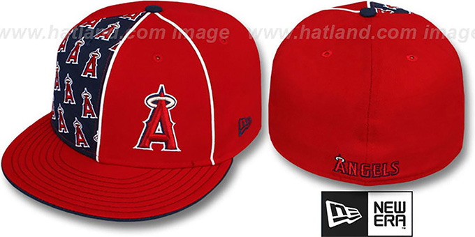 Angels 'MULTIPLY' Red-Navy Fitted Hat by New Era : pictured without stickers that these products are shipped with