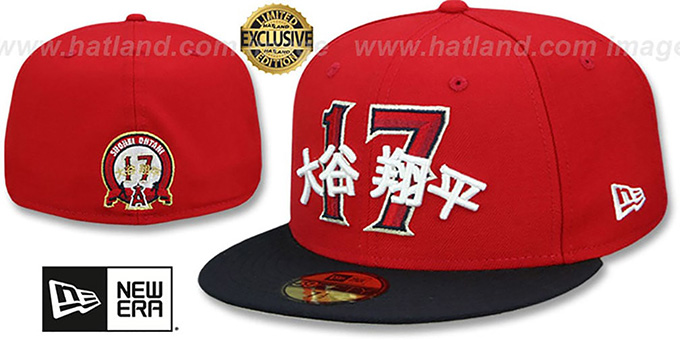 f47d9a53 Los Angeles Angels OHTANI 17 Red-Navy Fitted Hat by New Era