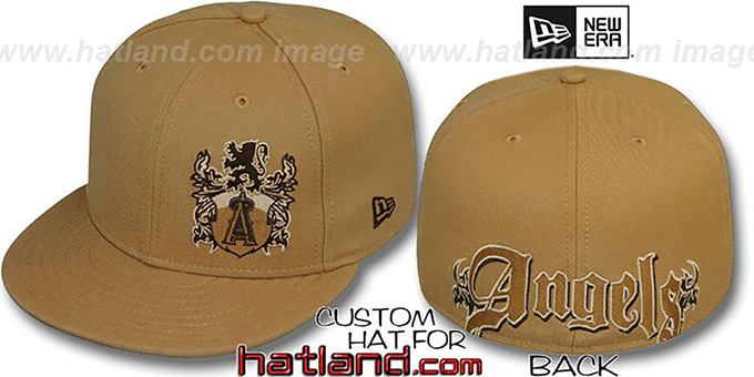 Angels 'OLD ENGLISH SOUTHPAW' Wheat-Brown Fitted Hat by New Era : pictured without stickers that these products are shipped with