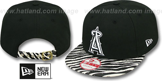 Angels 'OSTRICH-ZEBRA STRAPBACK' Hat by New Era : pictured without stickers that these products are shipped with