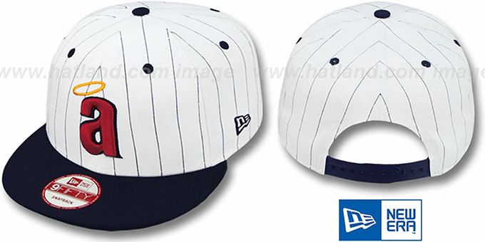 Angels 'PINSTRIPE BITD SNAPBACK' White-Navy Hat by New Era : pictured without stickers that these products are shipped with