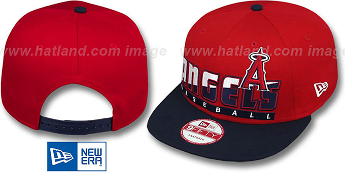 Angels 'SLICE-N-DICE SNAPBACK' Red-Navy Hat by New Era : pictured without stickers that these products are shipped with