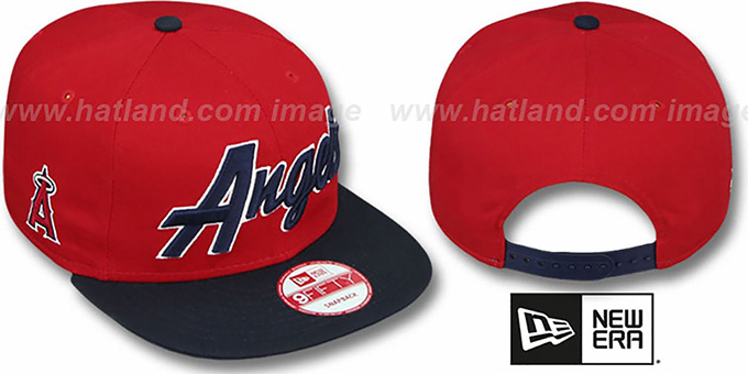 Angels 'SNAP-IT-BACK SNAPBACK' Red-Navy Hat by New Era : pictured without stickers that these products are shipped with