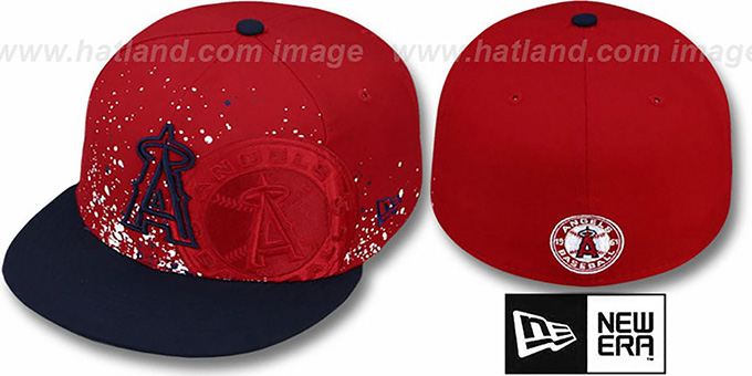 Angels 'SPLATZ' Red-Navy Fitted Hat by New Era : pictured without stickers that these products are shipped with