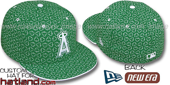 Angels 'ST PATS FLOCKING' Kelly Fitted Hat by New Era : pictured without stickers that these products are shipped with