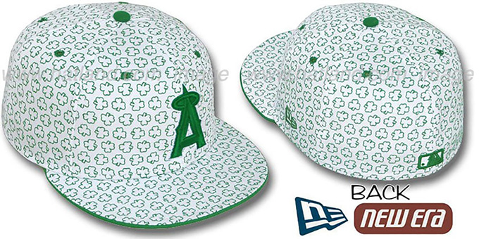 Angels 'ST PATS FLOCKING' White Fitted Hat by New Era : pictured without stickers that these products are shipped with