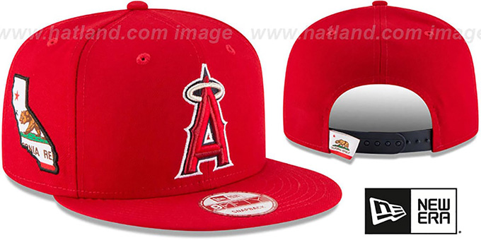 Angels 'STATE STARE SNAPBACK' Red Hat by New Era : pictured without stickers that these products are shipped with