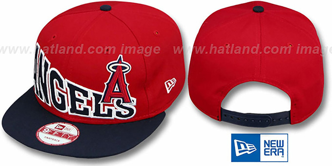 Angels 'STOKED SNAPBACK' Red-Navy Hat by New Era : pictured without stickers that these products are shipped with