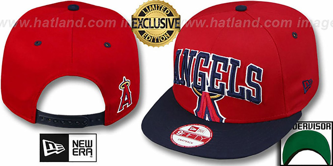 Angels 'SUPER-LOGO ARCH SNAPBACK' Red-Navy Hat by New Era : pictured without stickers that these products are shipped with