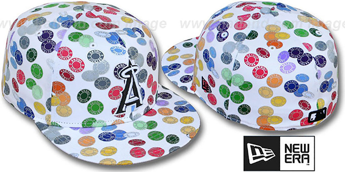 Angels 'TOKENS' White-Multi Fitted Hat by New Era : pictured without stickers that these products are shipped with