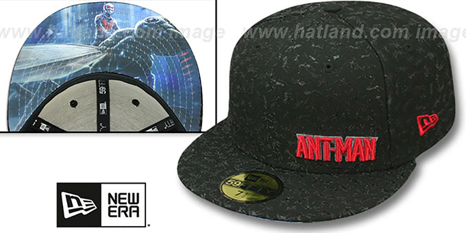Ant-Man 'ANTS ALL-OVER' Black Fitted Hat by New Era : pictured without stickers that these products are shipped with