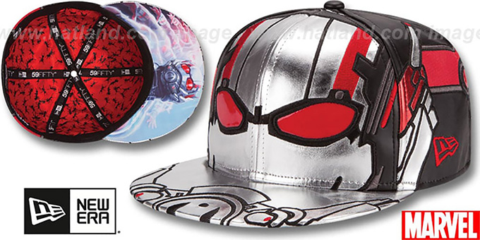 Ant Man Character Face Silver Black Fitted Hat By New Era