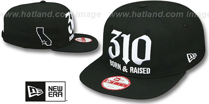 Area Code '310 BORN-N-RAISED SOCAL SNAPBACK' Black Hat by New Era : pictured without stickers that these products are shipped with