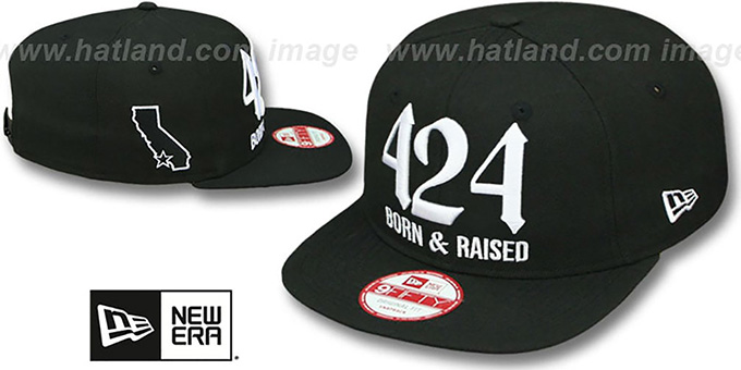 Area Code '424 BORN-N-RAISED SOCAL SNAPBACK' Black Hat by New Era : pictured without stickers that these products are shipped with