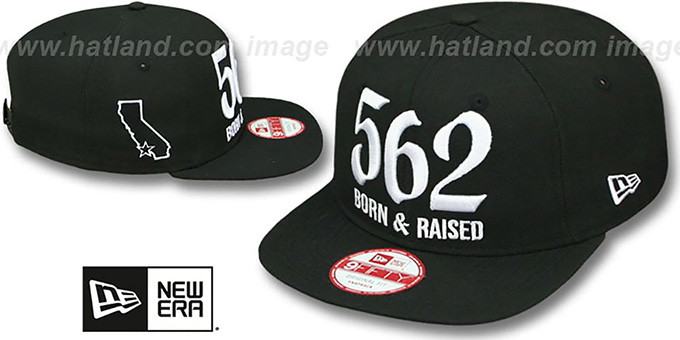Area Code  562 BORN-N-RAISED SOCAL SNAPBACK  Black Hat by New dadfba93caba