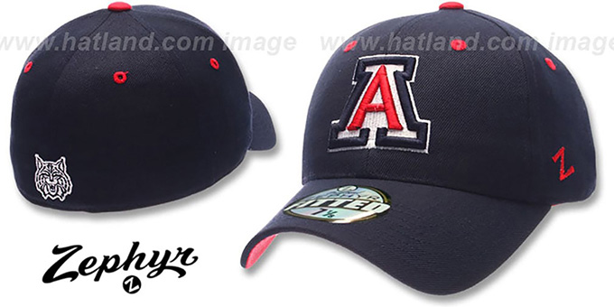 Arizona 'DH' Fitted Hat by ZEPHYR - navy : pictured without stickers that these products are shipped with