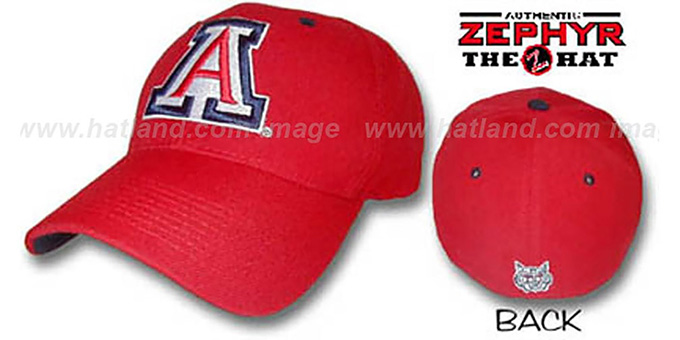 Arizona 'DH' Fitted Hat by ZEPHYR - red : pictured without stickers that these products are shipped with