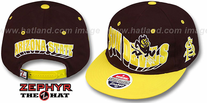 Arizona State '2T FLASHBACK SNAPBACK' Burgundy-Gold Hat by Zephyr : pictured without stickers that these products are shipped with