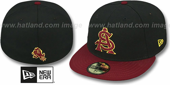 Arizona State '2T NCAA-BASIC' Black-Burgundy Fitted Hat by New Era : pictured without stickers that these products are shipped with