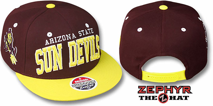 Arizona State '2T SUPER-ARCH SNAPBACK' Burgundy-Gold Hat by Zephyr : pictured without stickers that these products are shipped with