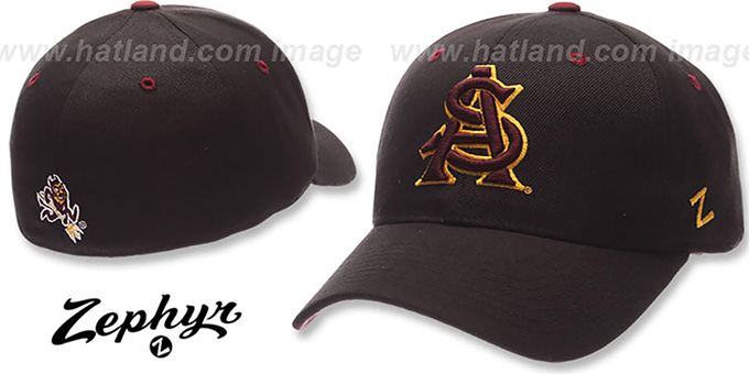 Arizona State 'DH' Black Fitted Hat by Zephyr : pictured without stickers that these products are shipped with