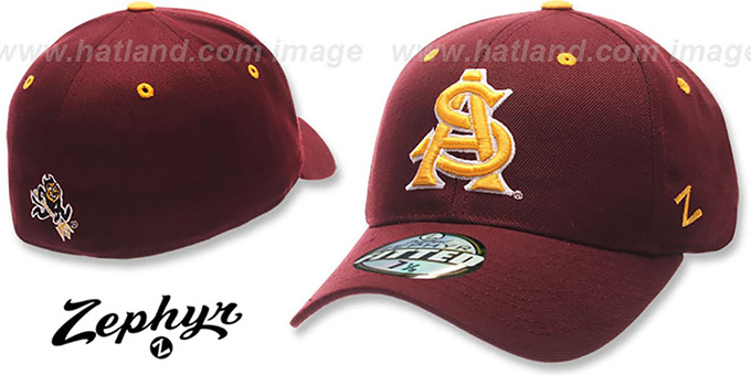 Arizona State 'DH' Fitted Hat by Zephyr - burgundy : pictured without stickers that these products are shipped with