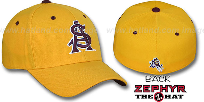 Arizona State 'DH' Fitted Hat by Zephyr - gold : pictured without stickers that these products are shipped with